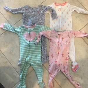 Set of 4 cotton 12 month footed pajamas